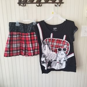 Justice Black and Red Plaid Skirt set